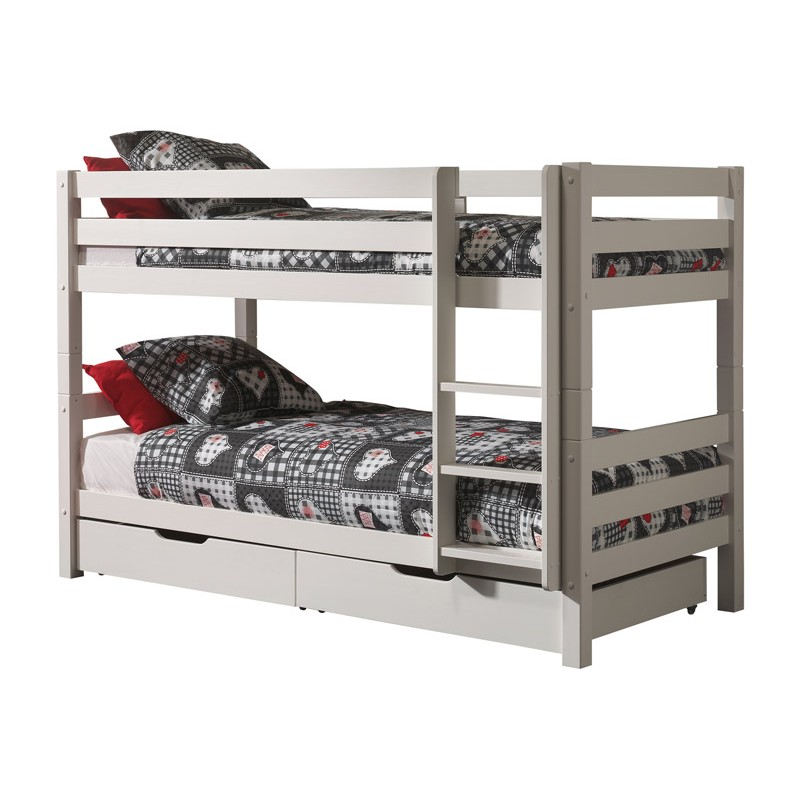 lit enfant superpose 2 tiroirs de lit pino 90x200cm blanc