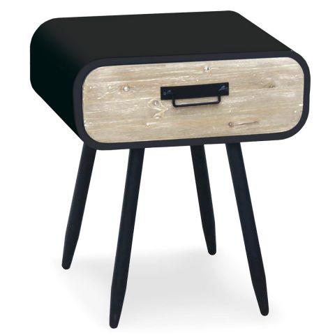 table de chevet en bois 1 tiroir ornoir 52cm noir