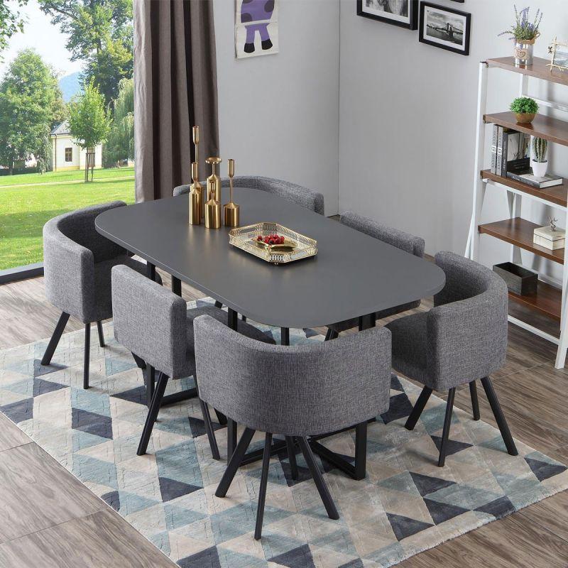 table de repas 6 chaises design normi 150cm gris