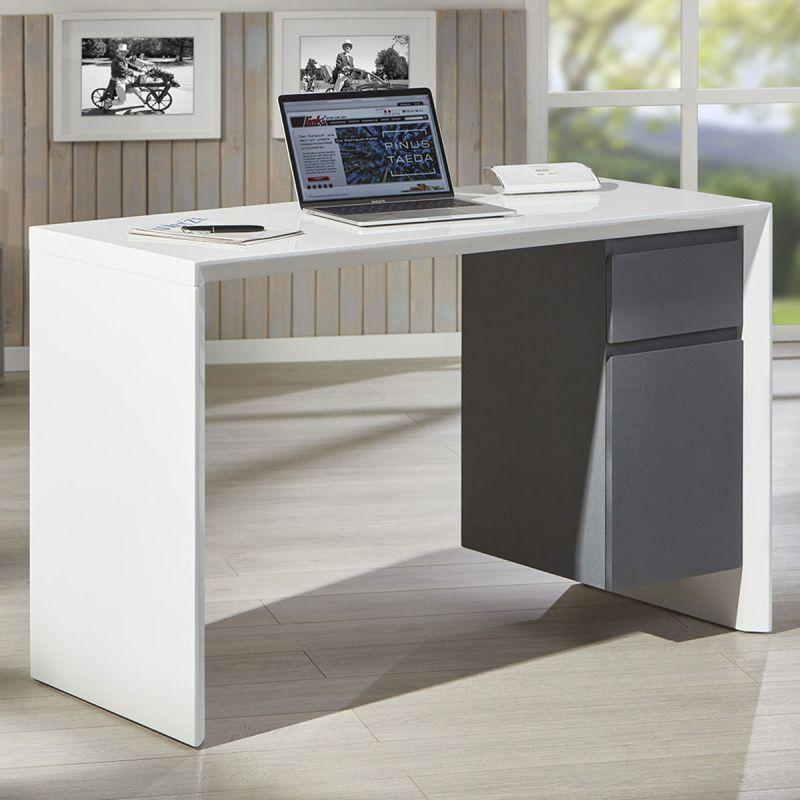 bureau design paolo 120cm blanc gris