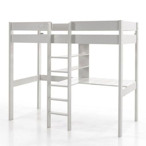 lit mezzanine bureau enfant pino 90x200cm blanc