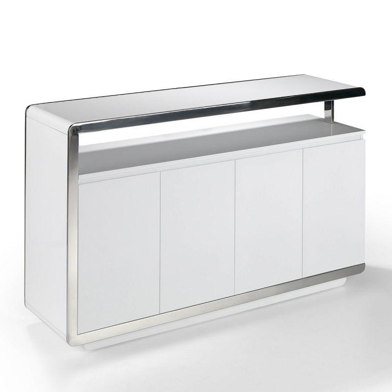 buffet 4 portes orlando 140cm blanc laque