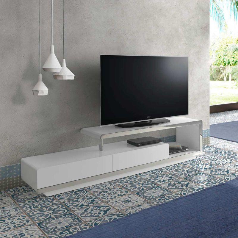 meuble tv design orlando 200cm blanc laque