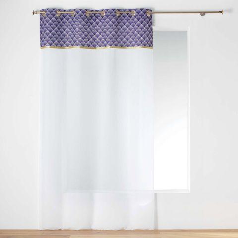 rideau voilage a œillets duchesse 140x240cm violet