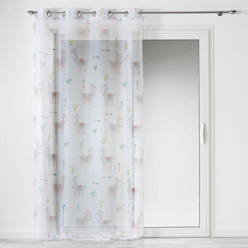 rideau voilage a œillets enfant happy lama 140x240cm blanc