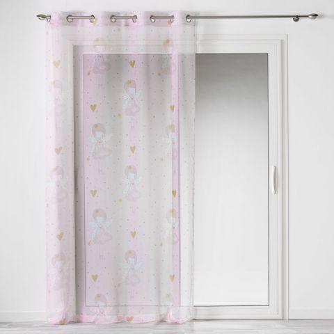 rideau voilage a œillets enfant rosaline 140x240cm rose