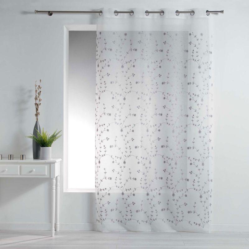 rideau voilage a œillets petite fleur 140x240cm blanc gris
