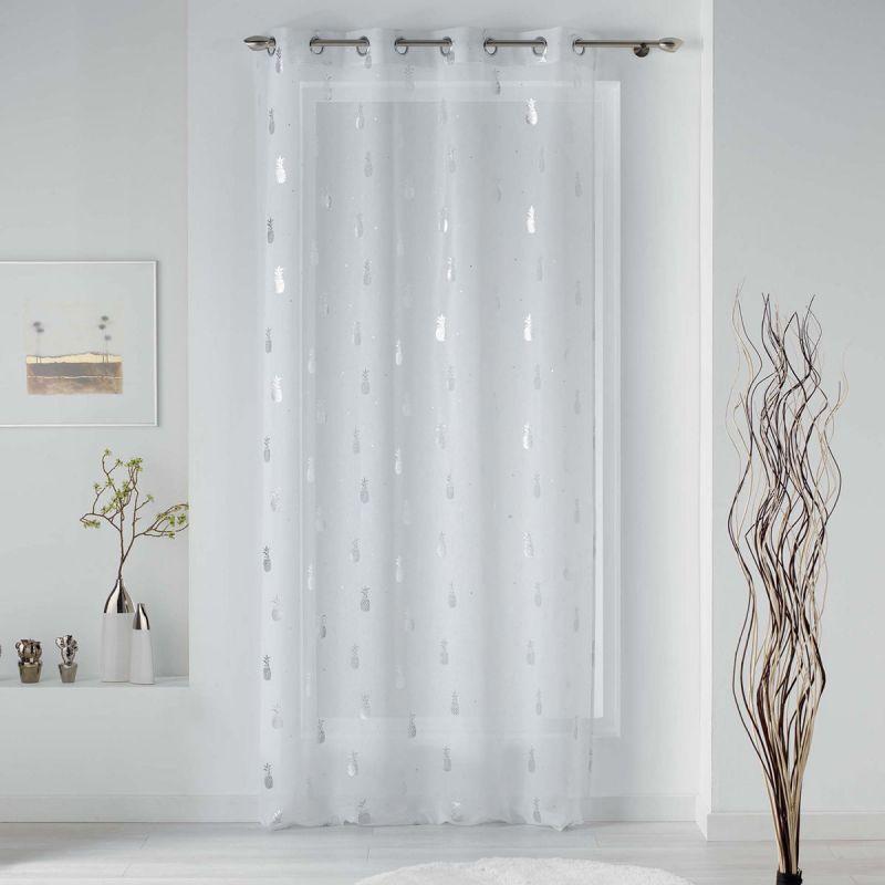 rideau voilage a œillets samba 130x240cm blanc argent