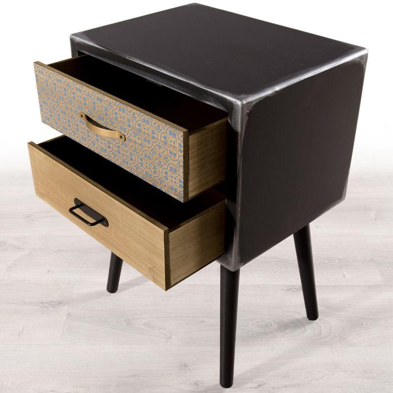 table de chevet vintage 2 tiroirs sacks 60cm noir
