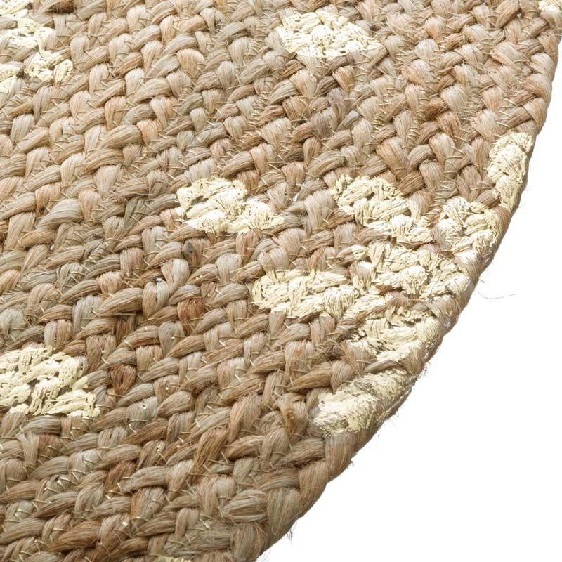 tapis rond en jute gold shine 115cm naturel or