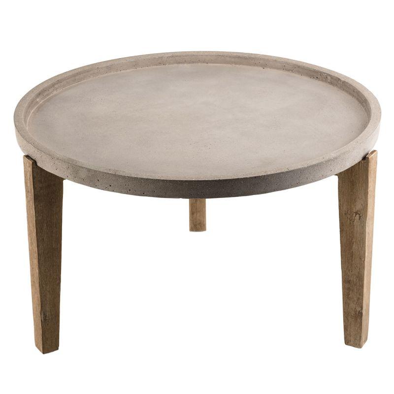 table basse ronde en beton concrete 82cm gris