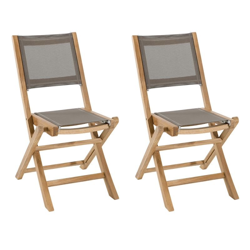 lot de 2 chaises de jardin teck bayo 88cm taupe