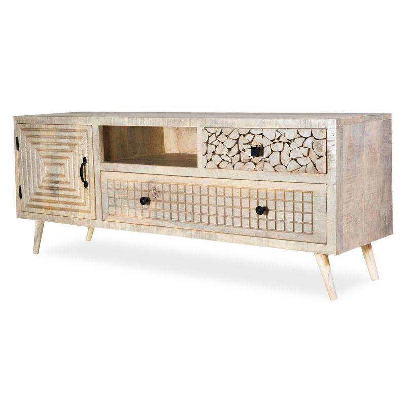 meuble tv design en bois kan 140cm naturel