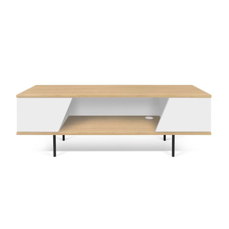 temahome meuble tv design dixie 140cm blanc chene