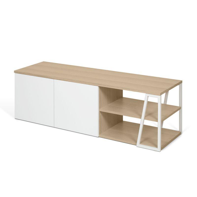 temahome meuble tv design albi 145cm chene blanc
