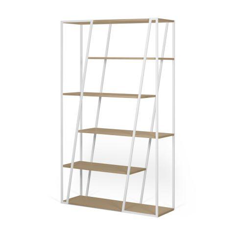 temahome etagere bibliotheque design albi 197cm chene blanc