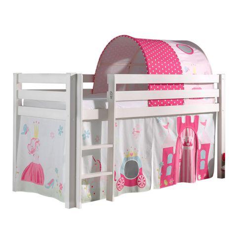 pack lit enfant tente tunnel pino princesse 90x200cm blanc
