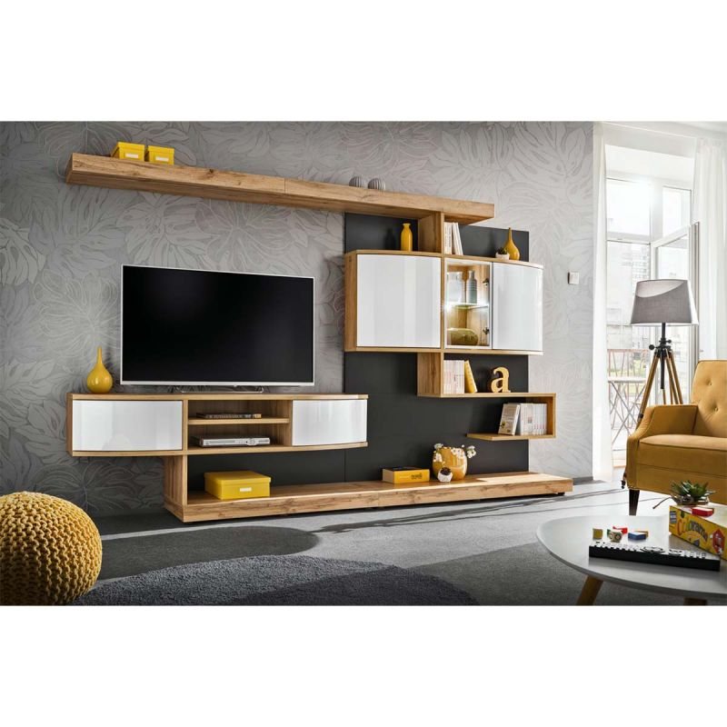 ensemble meuble tv palermo 300cm naturel anthracite