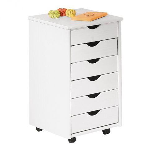 caisson de bureau 6 tiroirs school 65cm blanc