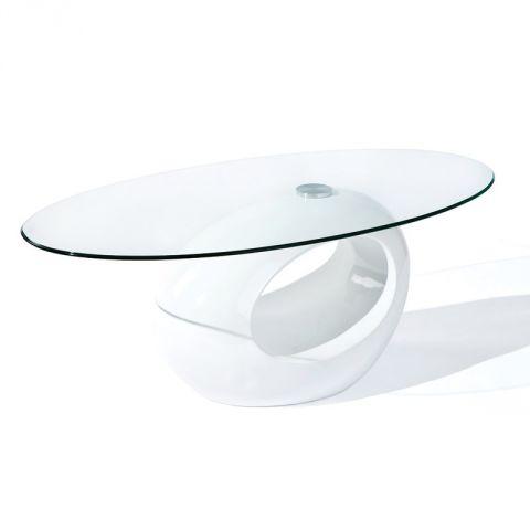 table basse design en verre vicky 110cm blanc