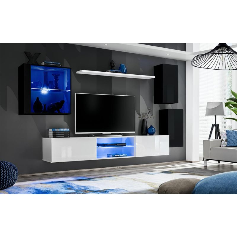 ensemble meuble tv design switch xxiii 250cm noir blanc