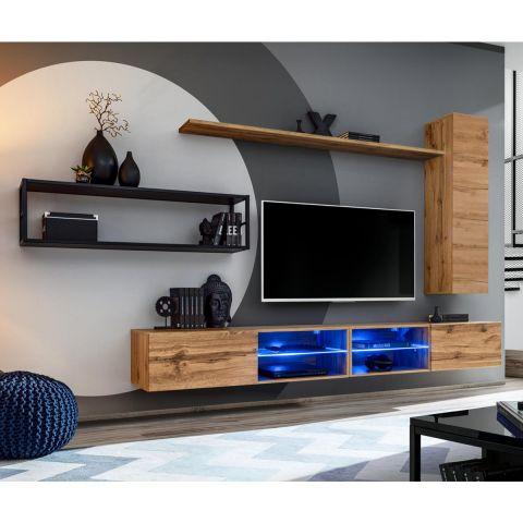 ensemble meuble tv design switch iv 300cm naturel noir