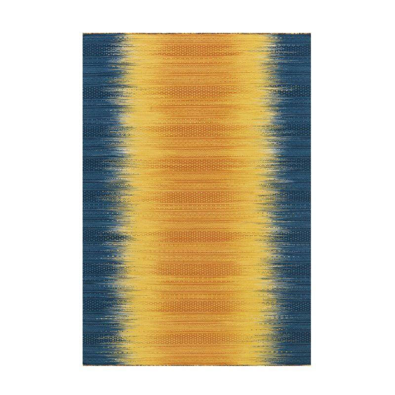 tapis en laine fait main sunset 90x160cm jaune bleu