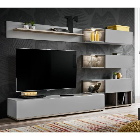 ensemble meuble tv design silk 240cm gris naturel