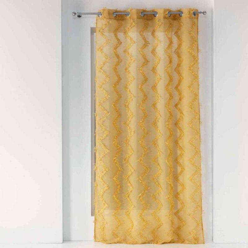 rideau voilage a œillets dany 140x240cm jaune