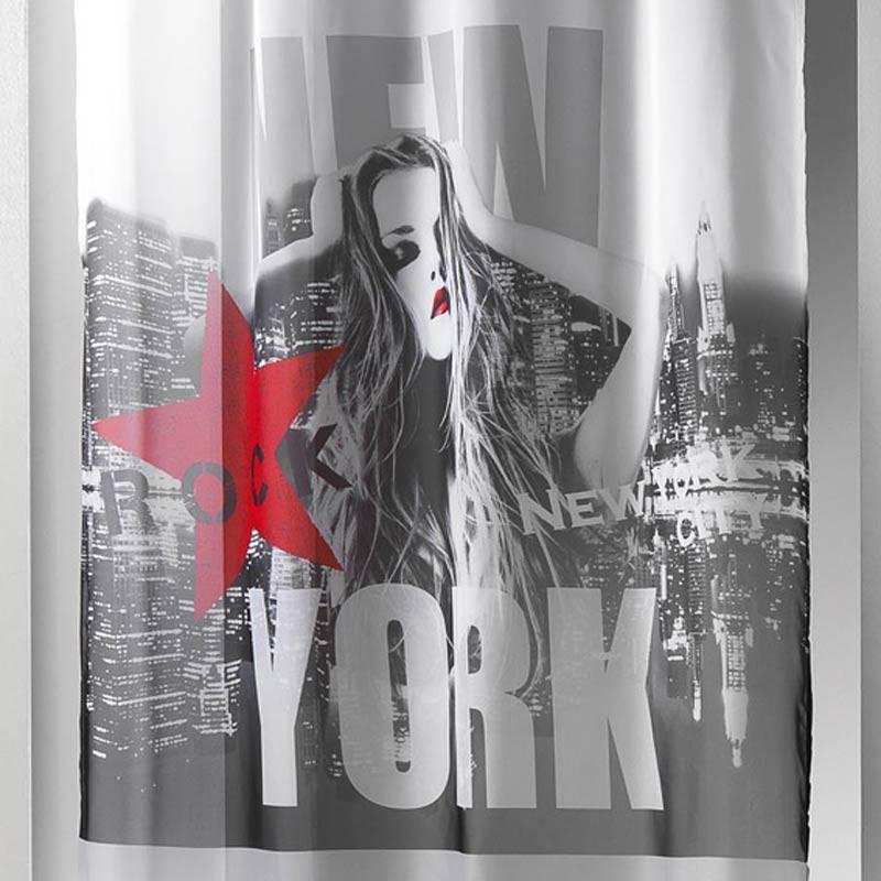 rideau voilage diva 140x260cm noir rouge