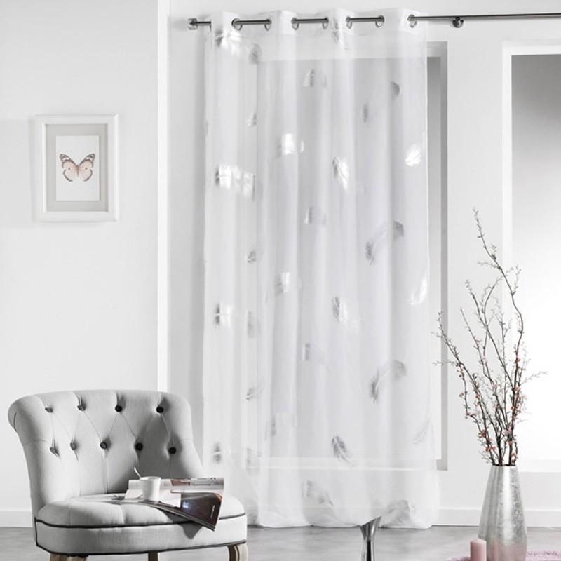 rideau voilage plumette 140x240cm blanc