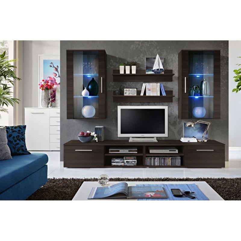 ensemble meuble tv mural design galino vii coffee wenge