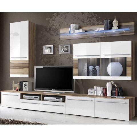 meuble tv mural design malou 275cm blanc noyer