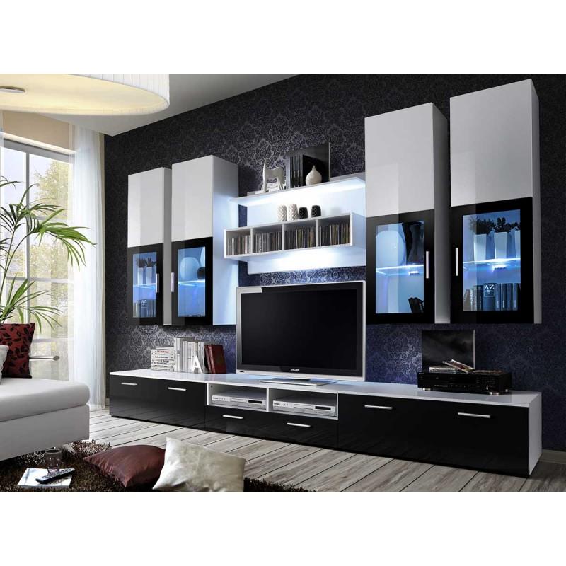 meuble tv mural design lyra 300cm noir blanc