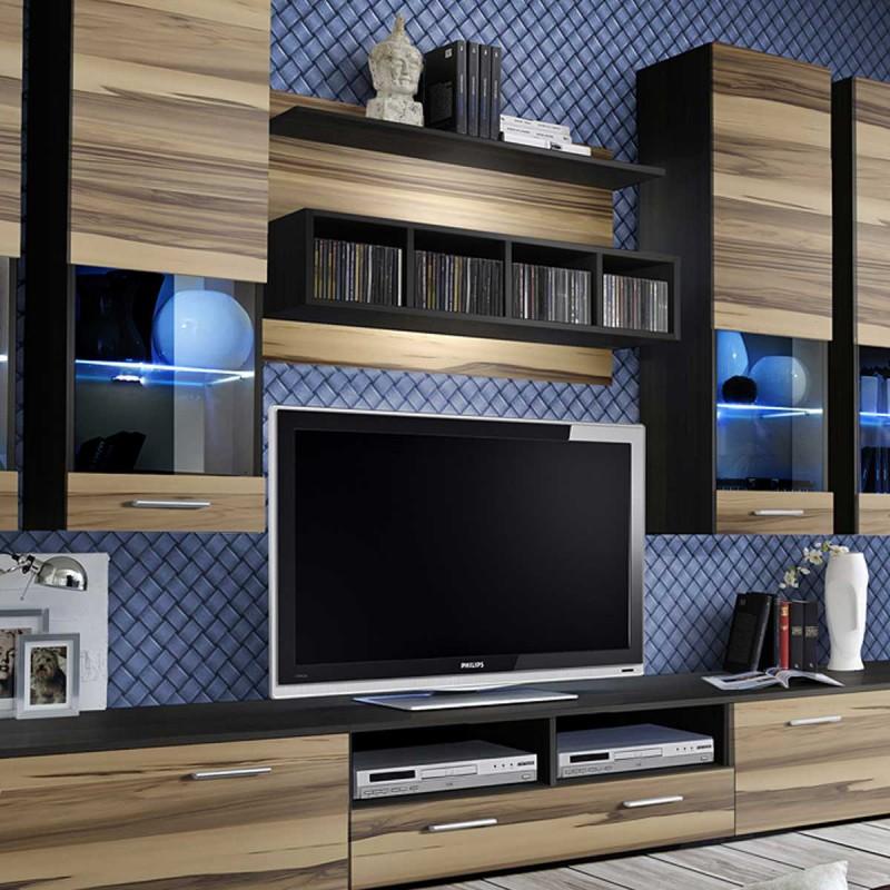 Meuble TV Mural Design Dorade 300cm Noyer Amp Weng