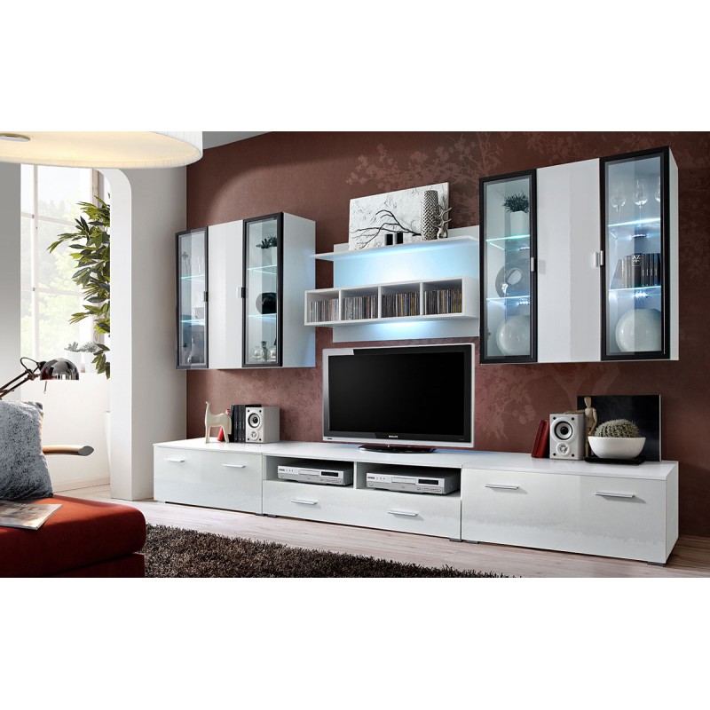 meuble tv mural design quadro 300cm blanc