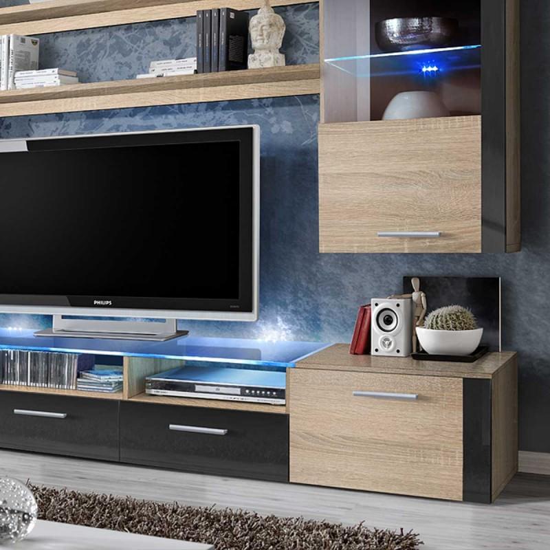 meuble tv mural design fresh 250cm chene graphite
