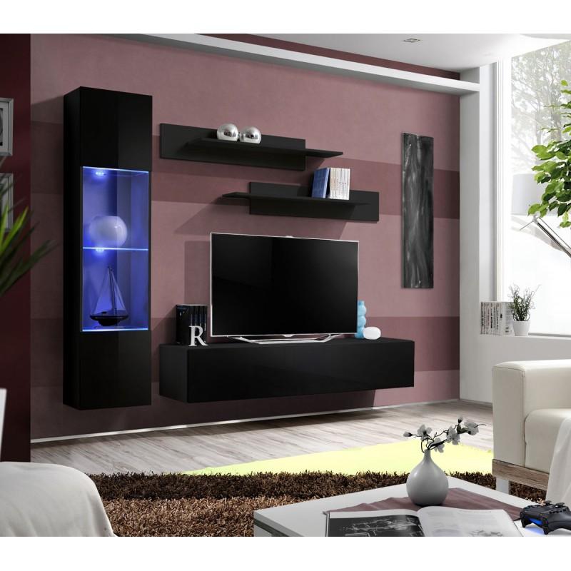Meuble TV Mural Design Fly III 210cm Noir