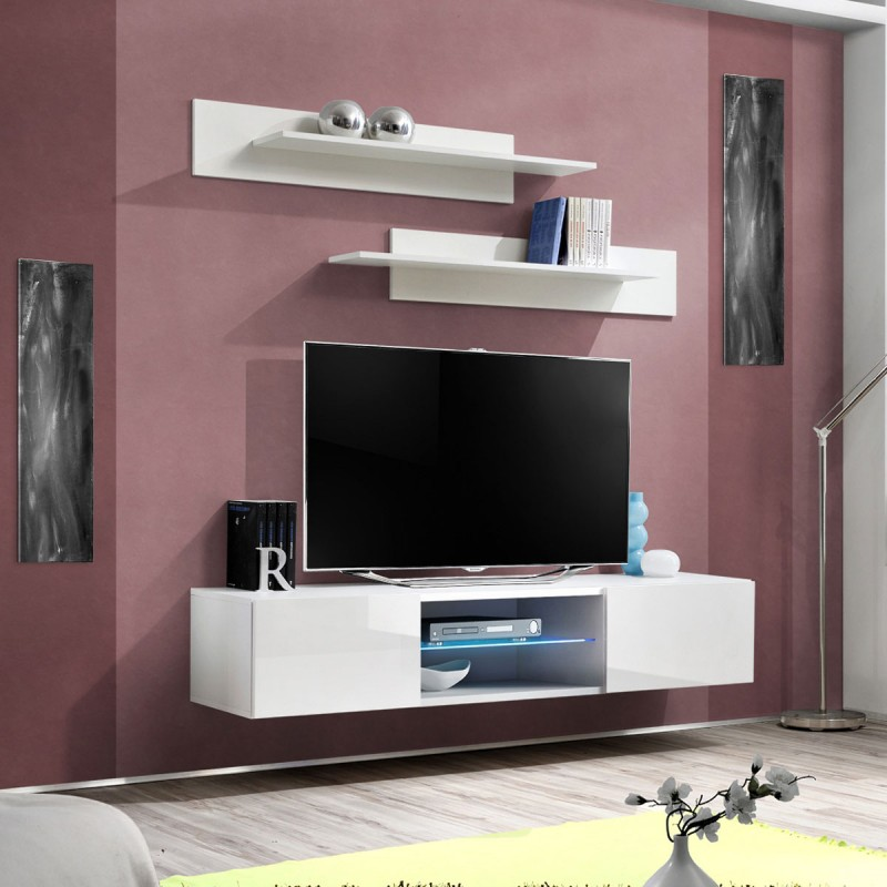 Meuble TV Mural Design Fly III 160cm Blanc