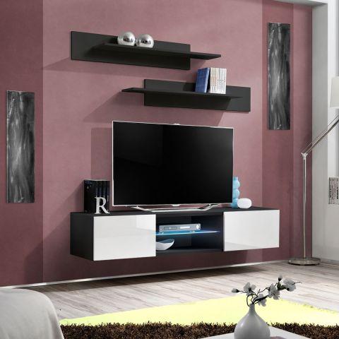 meuble tv mural design fly iii 160cm blanc noir