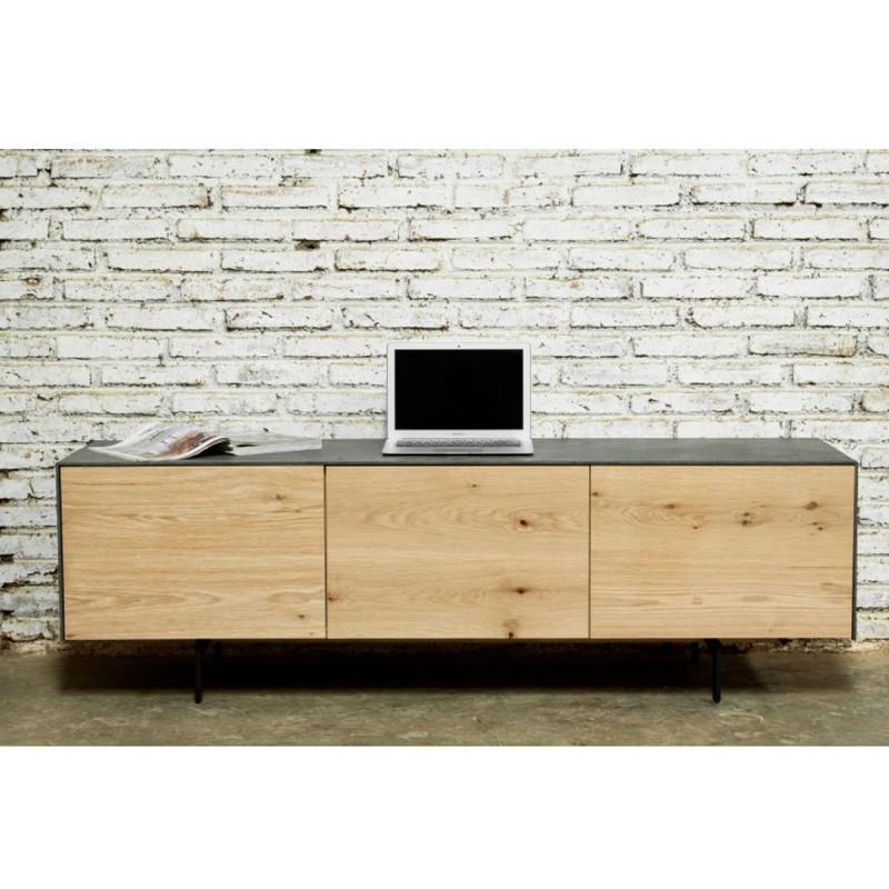 meuble tv design xena 167cm chene noir