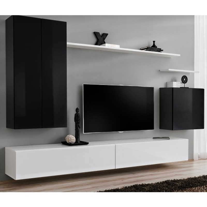 Meuble TV Mural Design Switch II 270cm Noir Amp Blanc