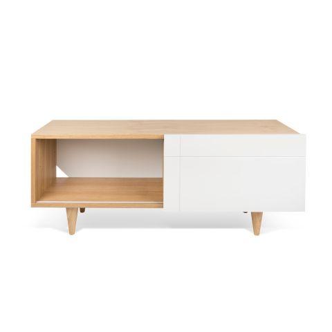 temahome meuble tv design cruz 120cm blanc mat chene