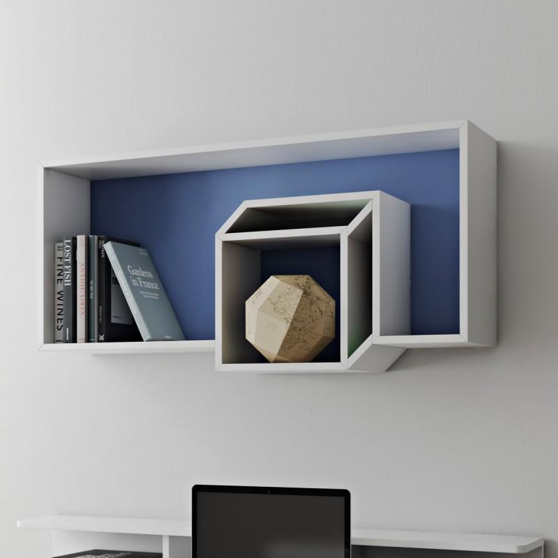 temahome etagere murale cube cubic 100cm bleu fonce blanc