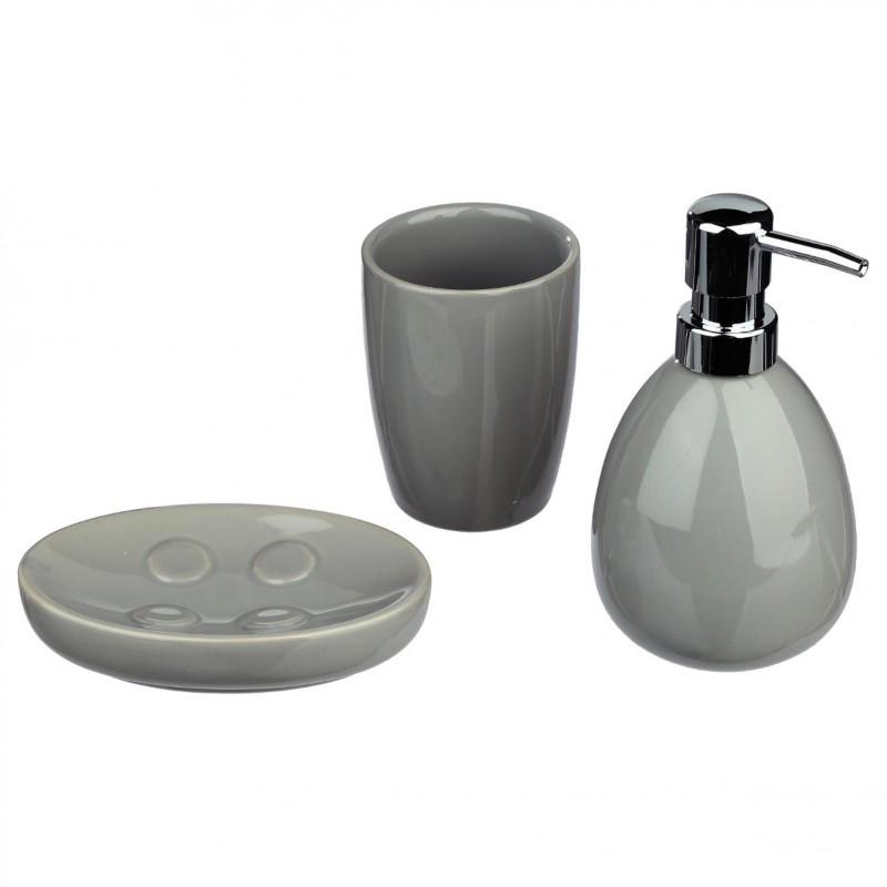 set de 3 accessoires salle de bain sun gris