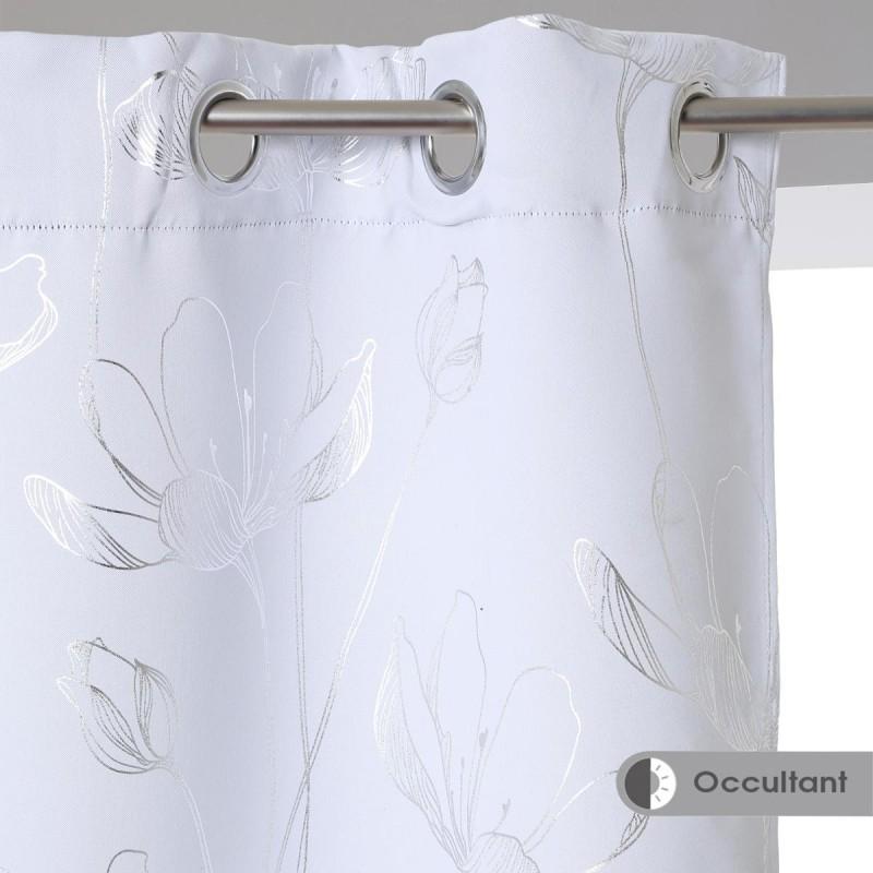 rideau occultant fleur 140x260cm blanc