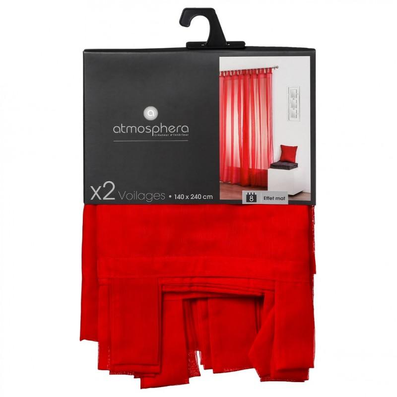 lot de 2 rideaux voilage pattes 140x240cm rouge