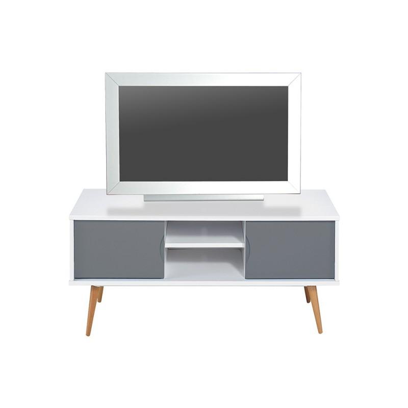 meuble tv design copan 120cm gris blanc