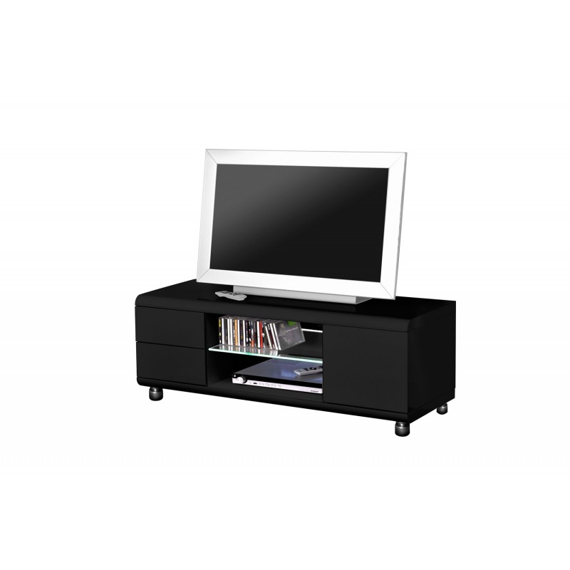 meuble tv design adan 120cm noir brillant
