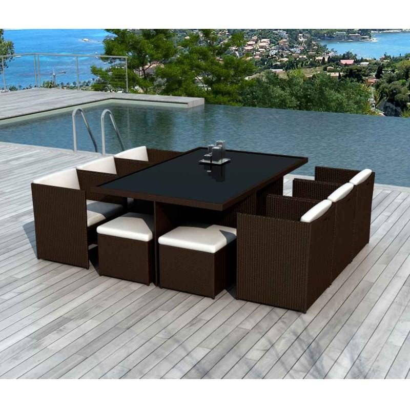 ensemble table de jardin 8 places palm beach 115cm chocolat ecru